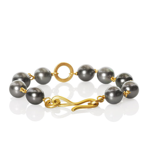 Anello Pearl Bracelet. Small with 1 row of Tahitian pearls.
