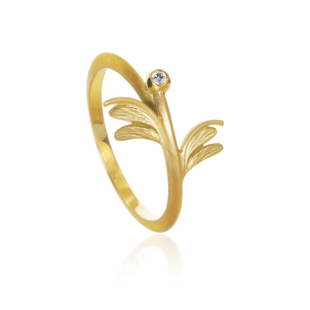 Aura Sway ring med 1 brillant. Guld 18K, Dulong Fine Jewelry.