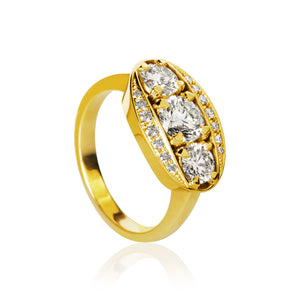 Halo ring med 17 brillanter. Guld 18K. Dulong Fine Jewelry