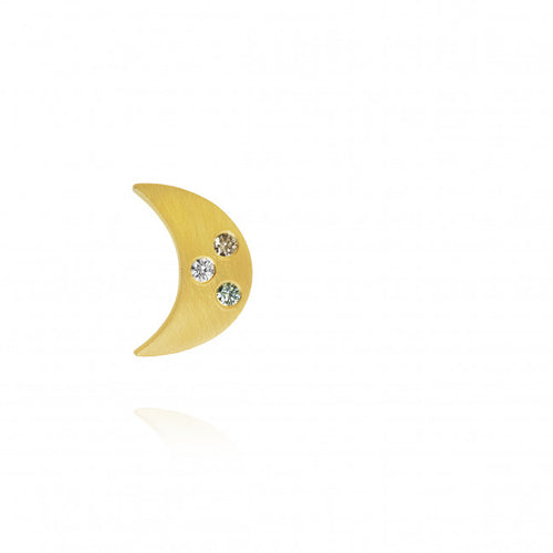 Luna earring with 1 brillant cut diamonds and 2 colored brillant cut diamonds