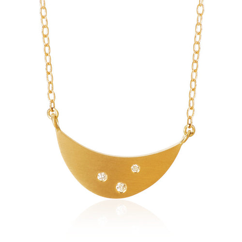 Luna necklace with 3 brilliant cut diamonds