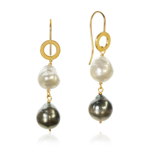 Ocean Pearl earrings with Baroque South Sea pearls and Baroque Tahiti pearls