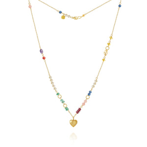 Piccolo Bloom necklace with a heart, emerald, ruby, Gauva quartz, kyanite, freshwater pearls, cetrin, coral and amethyst
