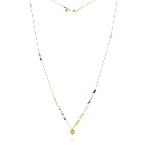 Piccolo Bloom Necklace. With emerald, ruby, gauze quartz, kyanite, freshwater pearls, cetrin, coral and amethyst, 62 cm.
