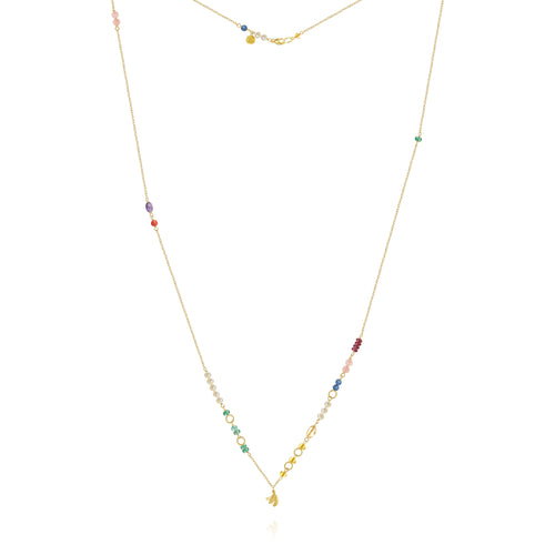 Piccolo Bloom necklace with Aura, emerald, ruby, gauze quartz, kyanite, freshwater pearls, cetrin, coral and amethyst, 62 cm.