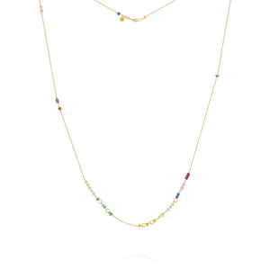 Piccolo Bloom necklace with emerald, ruby, gauze quartz, kyanite, freshwater pearls, cetrin, coral and amethyst, 62 cm.