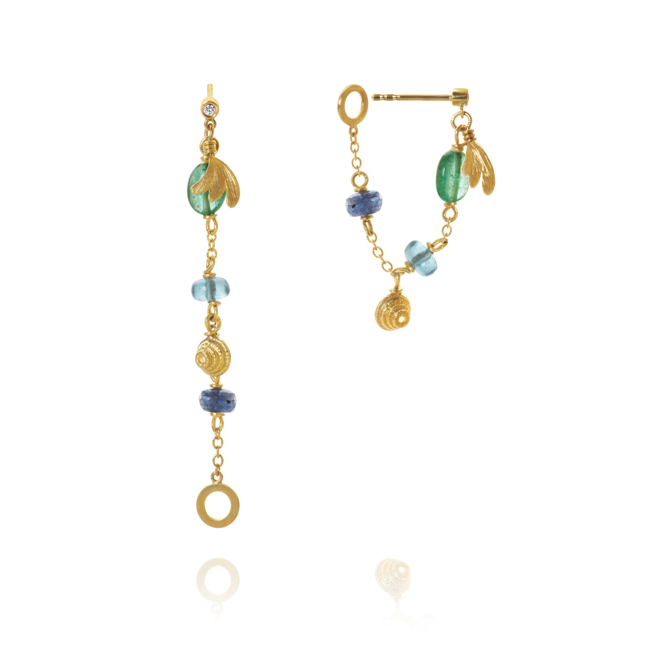 Piccolo Sea Breeze earrings with two diamonds. A total of 0.02 ct. F/G, VS, Ex. Cut, emerald, sapphire and aquamarine, with Aura and Thera symbols.