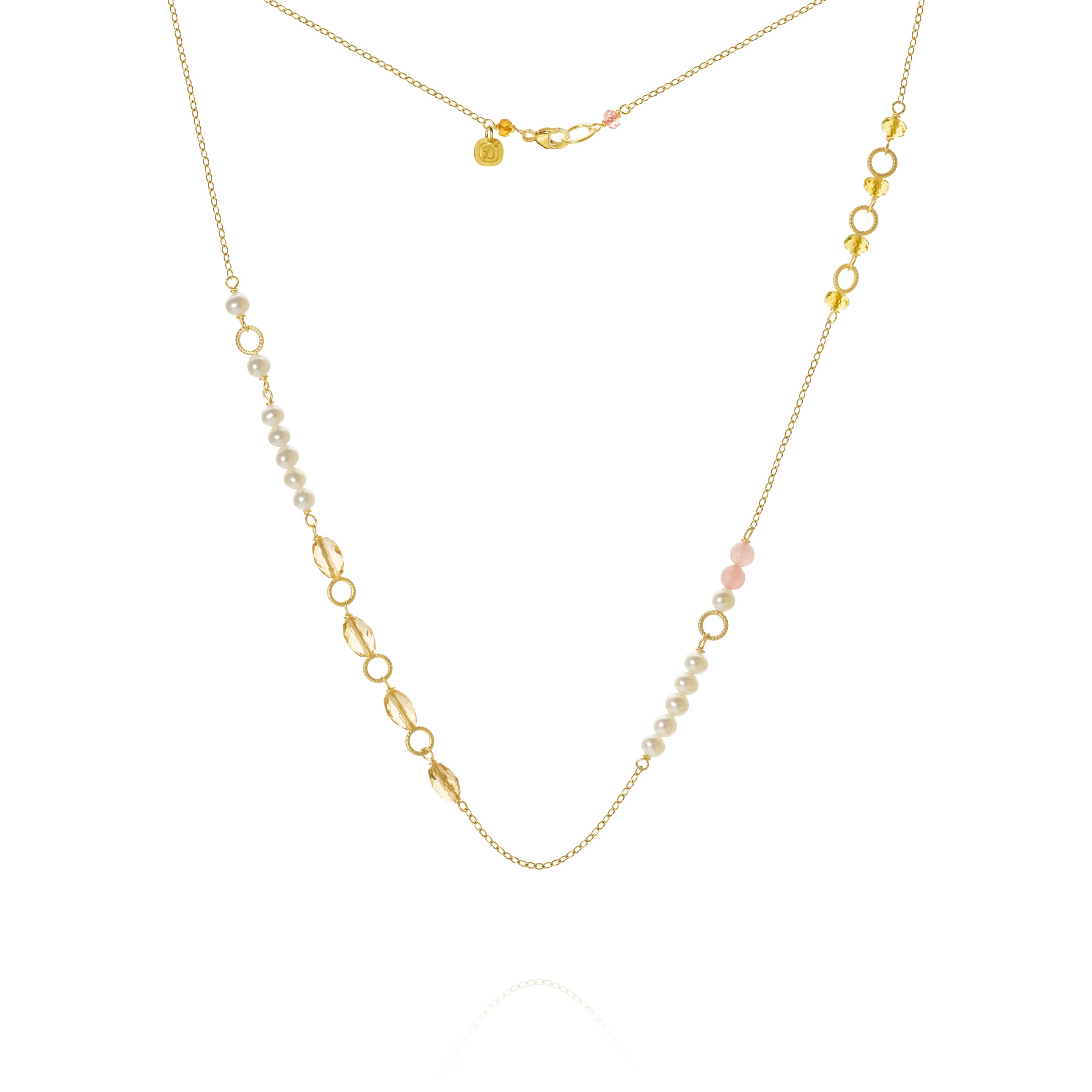 Piccolo Mellow necklace. With the sahir peach, peach water sperson, cetrine and guava quartz, three-foot-four.