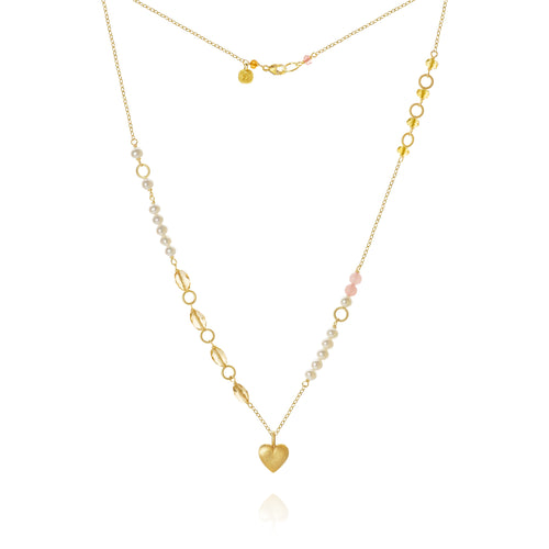 Piccolo Mellow necklace with a heart, sapphire peach, freshwater pearls, citrine and guava quartz, 43 cm.
