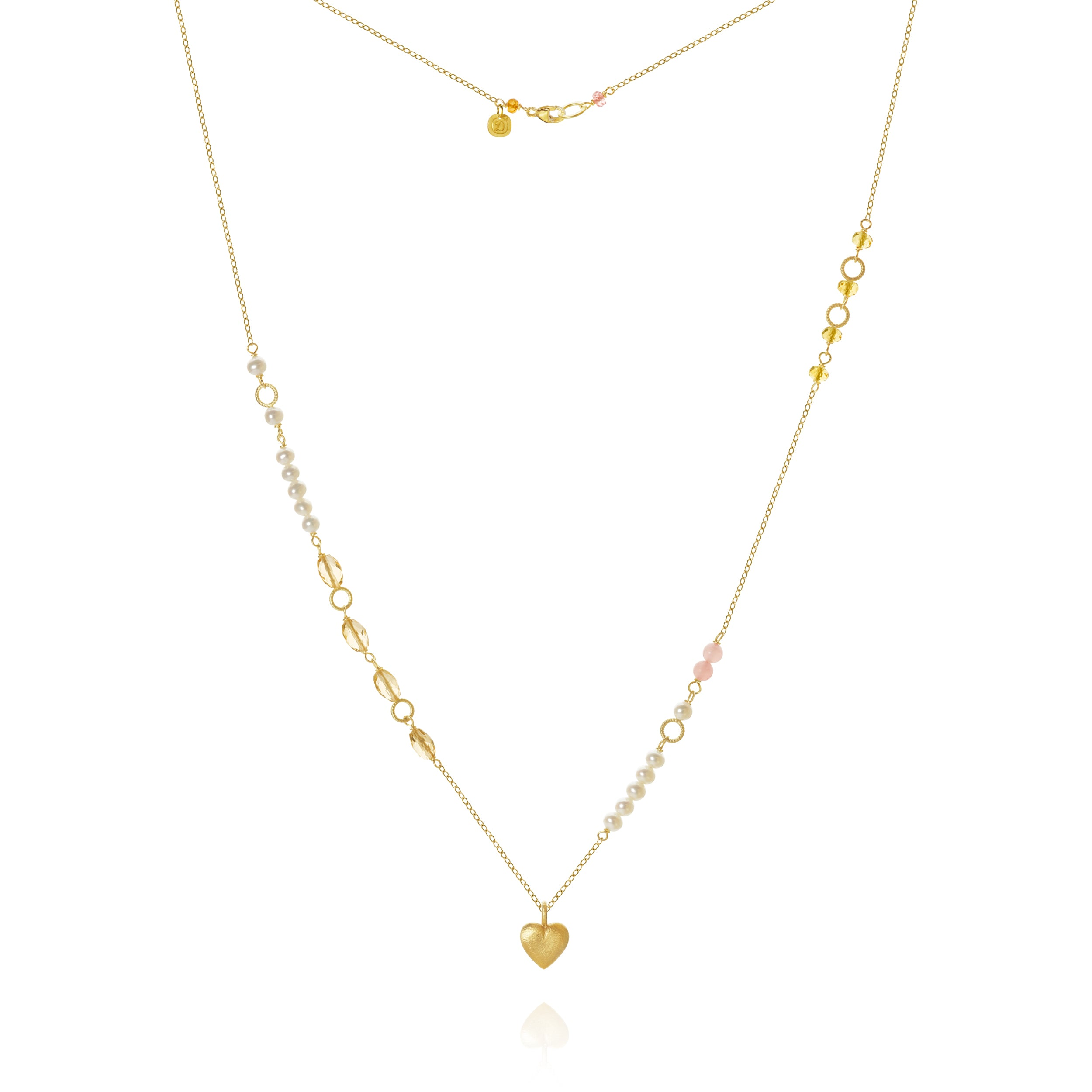 Piccolo Mellow necklace with a heart, sapphire peach, freshwater pearls, cetrin and guava quartz, 62 cm.
