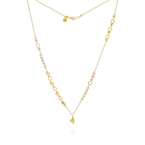 Piccolo Mellow necklace with Aura, sapphire peach, freshwater pearls, citrine and guava quartz, 43 cm. Gold 18K, Dulong Fine Jewelry.