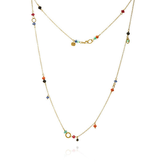 Piccolo Sunset necklace with 1 black diamond. 0,30 ct., coral, spinel, sapphire, ruby and emerald, 47 cm.