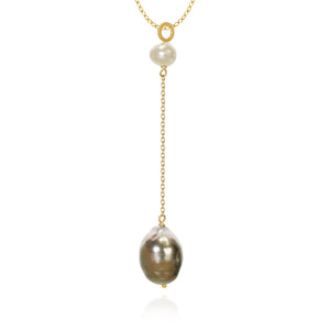 Piccolo Ocean pendants with freshwater pearls and baroque Tahitian pearls