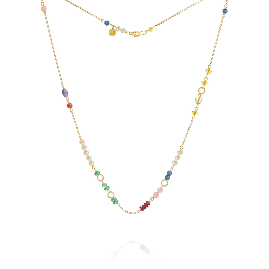 Piccolo Bloom necklace with emerald, ruby, gauva quartz, kyanite, freshwater pearls, cetrin, coral and amethyst, 43 cm.