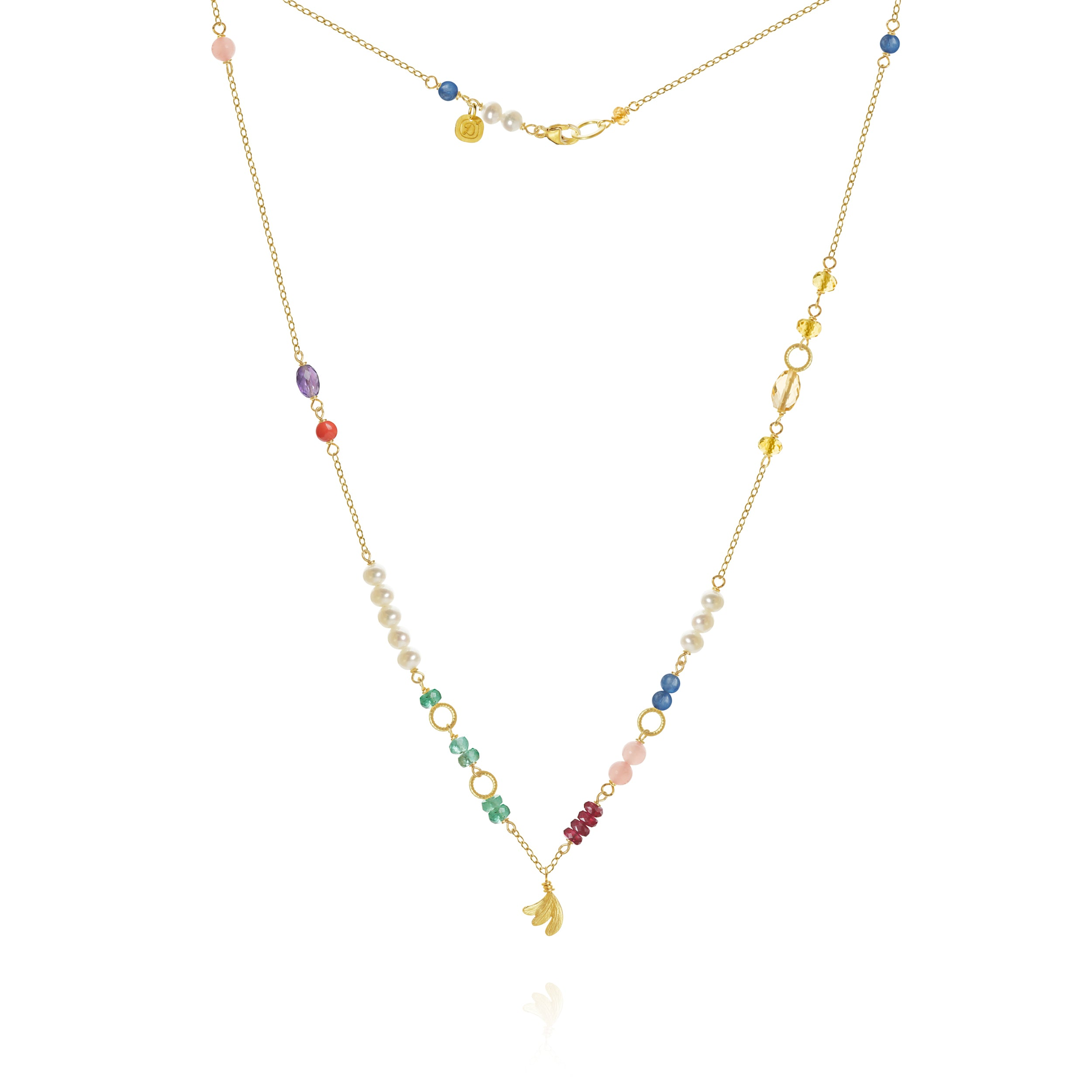 Piccolo Bloom necklace with Aura, emerald, ruby, gauva quartz, kyanite, freshwater pearls, cetrin, coral and amethyst, 43 cm.