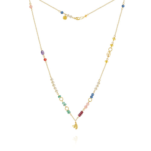 Piccolo Bloom necklace with Aura, emerald, ruby, guava quartz, kyanite, freshwater pearls, cetrine, coral and amethyst, 43 cm. 18K Gold, Dulong Fine Jewelry.