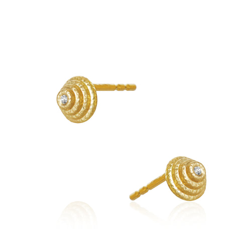 Thera Twist earrings with brillants. Small.
