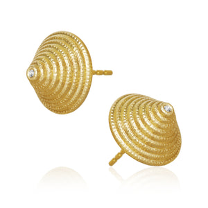 Thera Twist ørering, Stor, med 2 brillanter, Guld 18 K, Dulong Fine Jewelry