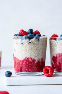 Green Tea X50 Raw Raspberry, Vanilla, Coconut & Chia Seed Puddings