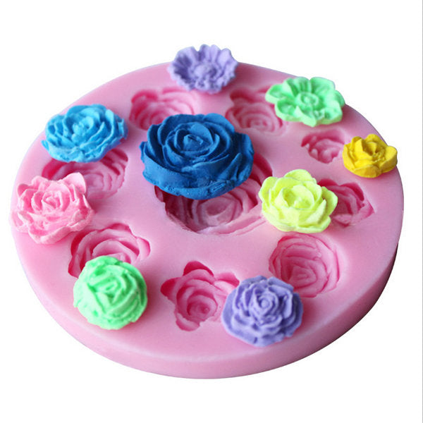 Nine Different Pattern Size DIY Roses Flower Chocolate Cake Molds
