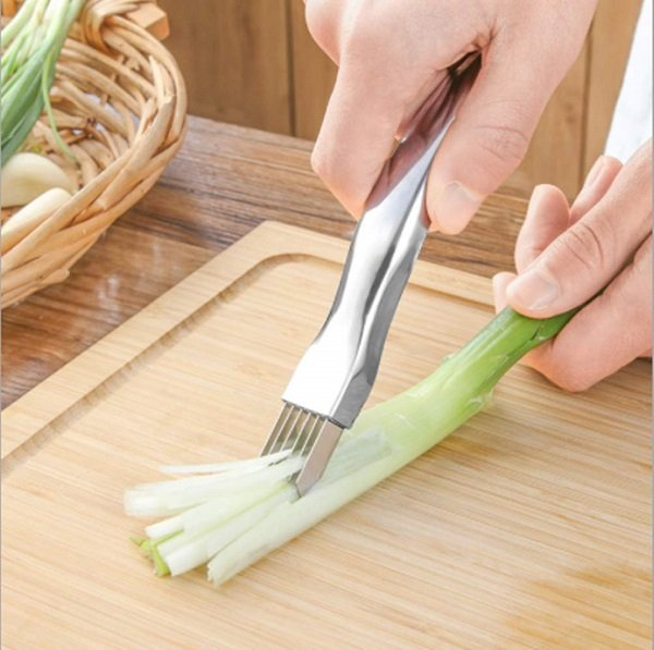 Stainless Steel Chopped Green Onion Knife,Kitchen Tool Slice Cutlery Vegetable Cutter Sharp Scallion Cutter Shred Knife