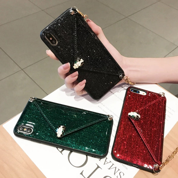 Glitter Leather Wallet Phone Case With Card Slot For iPhone