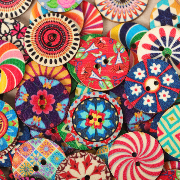 100pcs 20mm Vintage Flower Painted Wooden Sewing Buttons