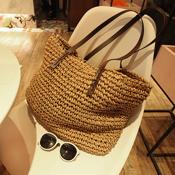 Womens Straw Casual Shoulder Bags