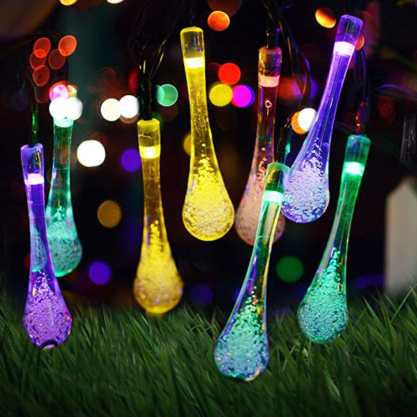 Outdoor Water Drop Solar Fairy Lights