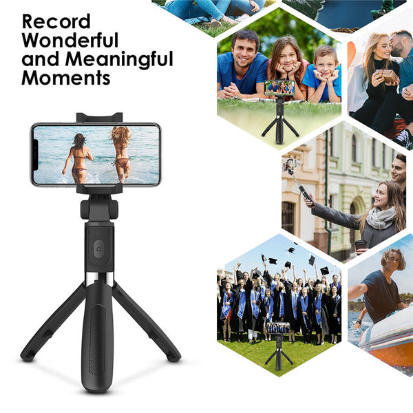 2 in 1 Extendable Bluetooth Selfie Stick Tripod with Removable Mini Bluetooth Remote