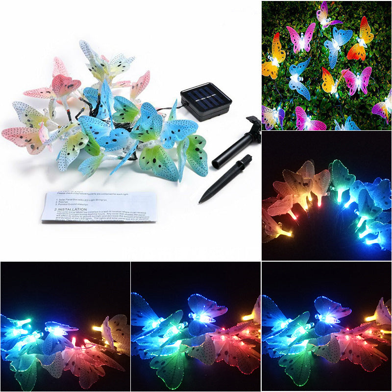 12 LED Solar Powered Butterfly Fiber String Light