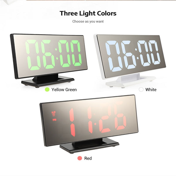 "7"" LED Mirror Alarm Clock Thermometer Large Display USB & Battery Powered"