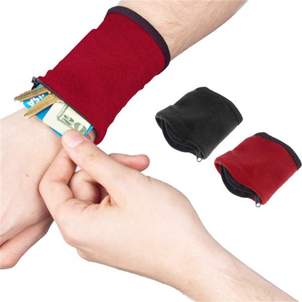 Runners Wristband With Zipper Wrist Wallet Running Travel Gym Hide ID Card Pouch