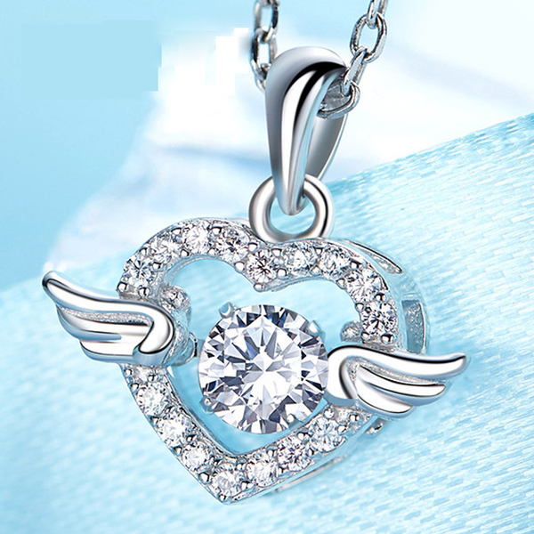 925 Sterling Silver Heart Dancing Angel Wing Necklace