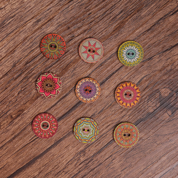 100Pcs Retro Flower Bohemian Wooden Buttons