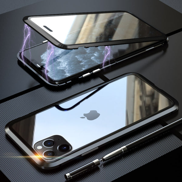 Metal Bumper Double Sided Glass Magnetic Case For Iphone