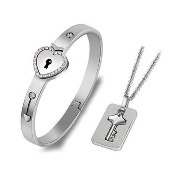 Forever Love Lock Bracelet Necklace Set