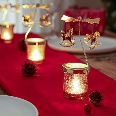 Xmas Spinning Carousel Candle Holder