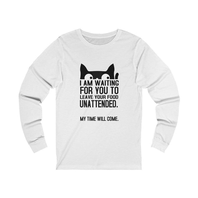 Funny Cat Long Sleeve T-Shirt White / L  - VPI Shop