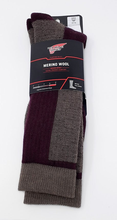 Socks, Merino Wool, Burgundy 97392, XL