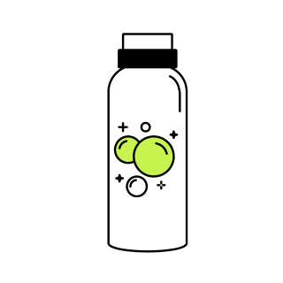 A graphic of a saline solution bottle.
