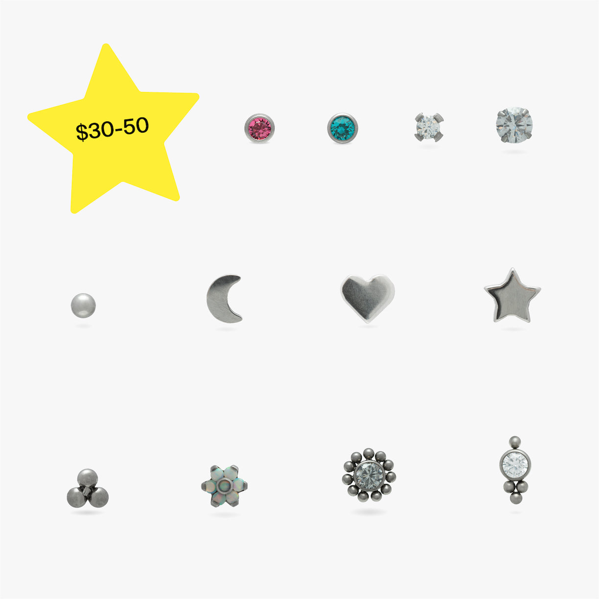 Image of 12 earrings in a grid that range in price from $30 to $50.