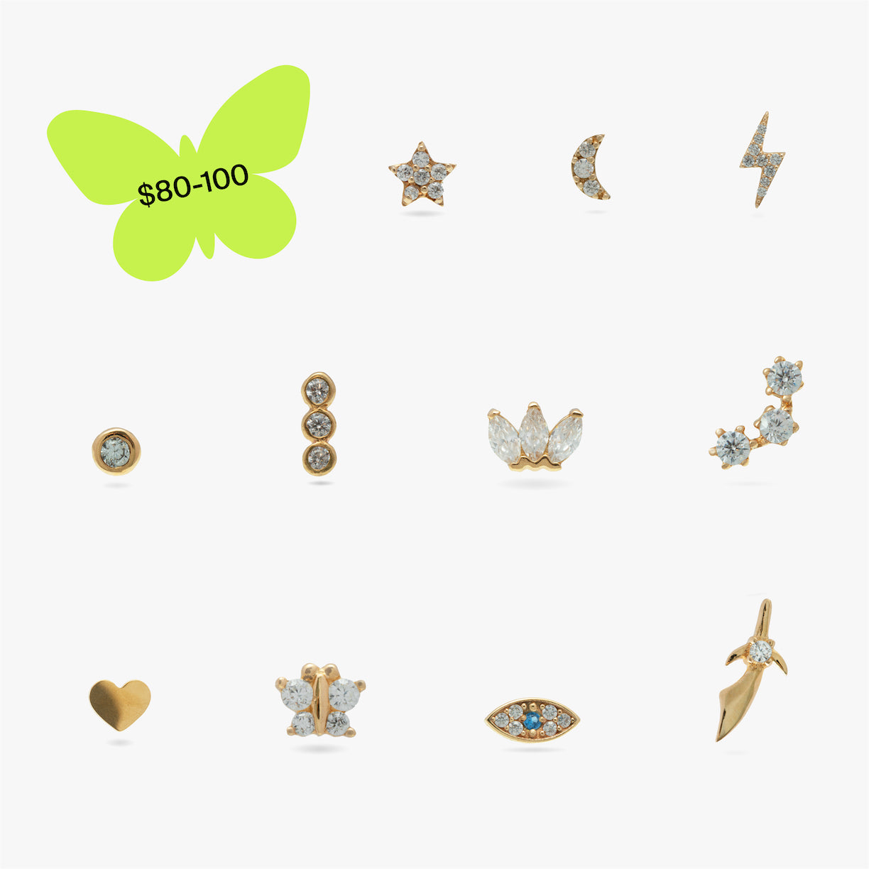 Image of 11 earrings in a grid that range in price from $80 to $100.