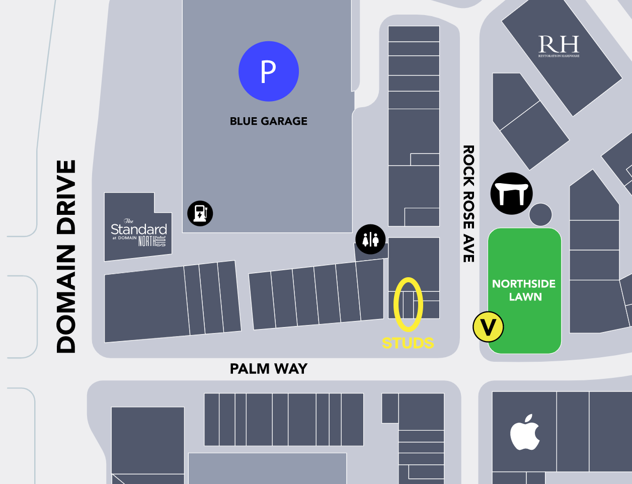 A mall map indicating where the STUDS store is in the Century City mall.