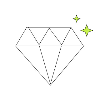 A graphic of a diamond gem that sparkles.