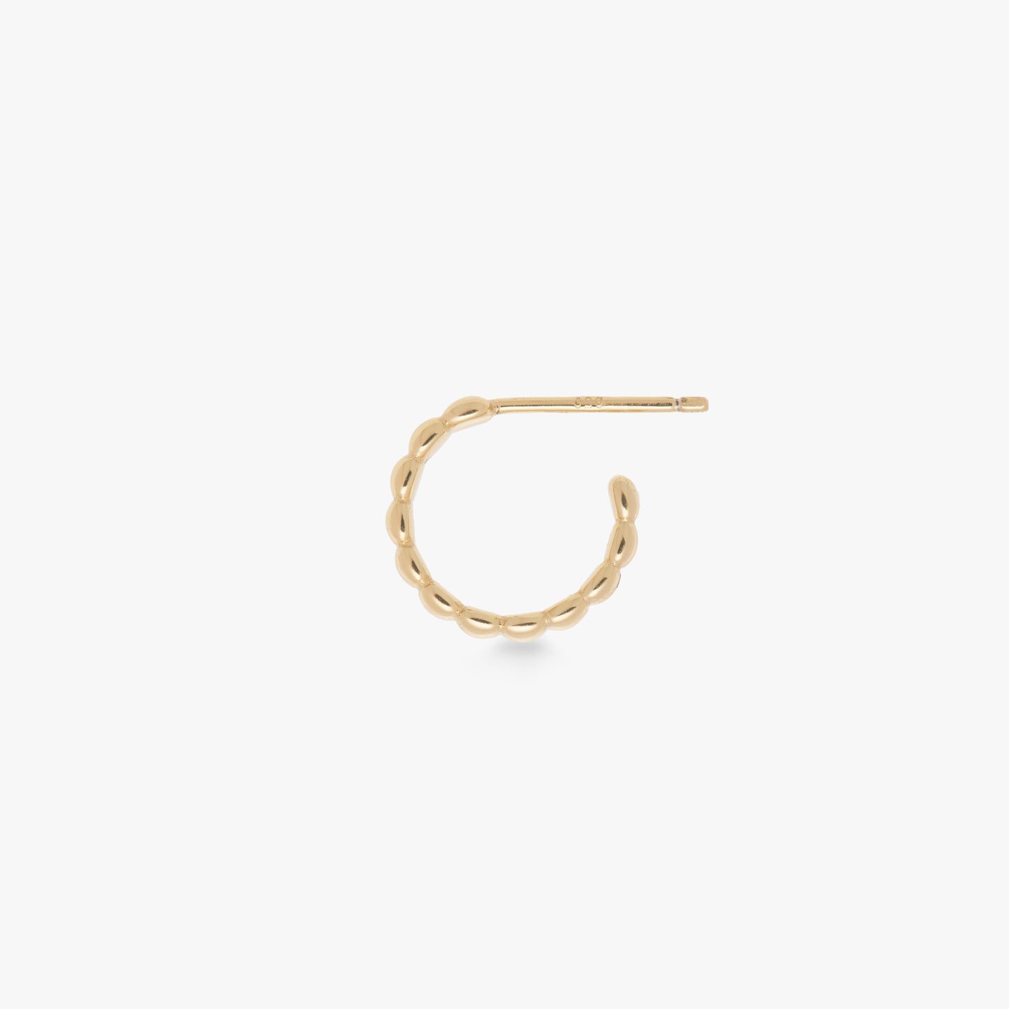 Gold post hoop with flat ribbed design.