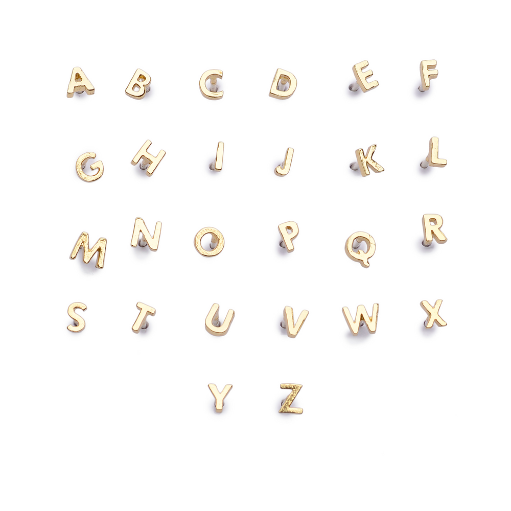 This gold alphabet stud is available in every letter of the alphabet.