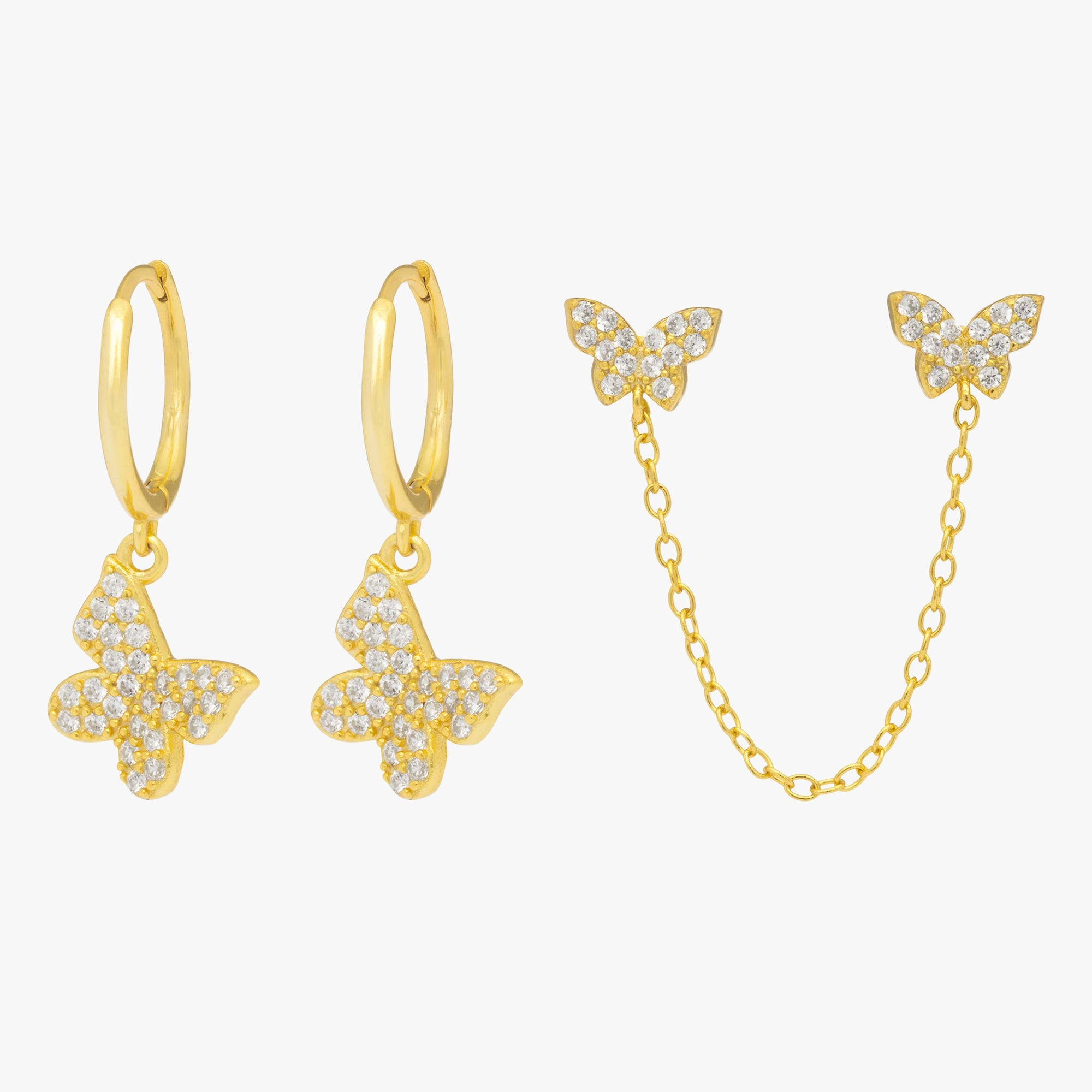 Pavé butterfly drop hoops and attached chained pavé butterfly studs. [pair] color:gold