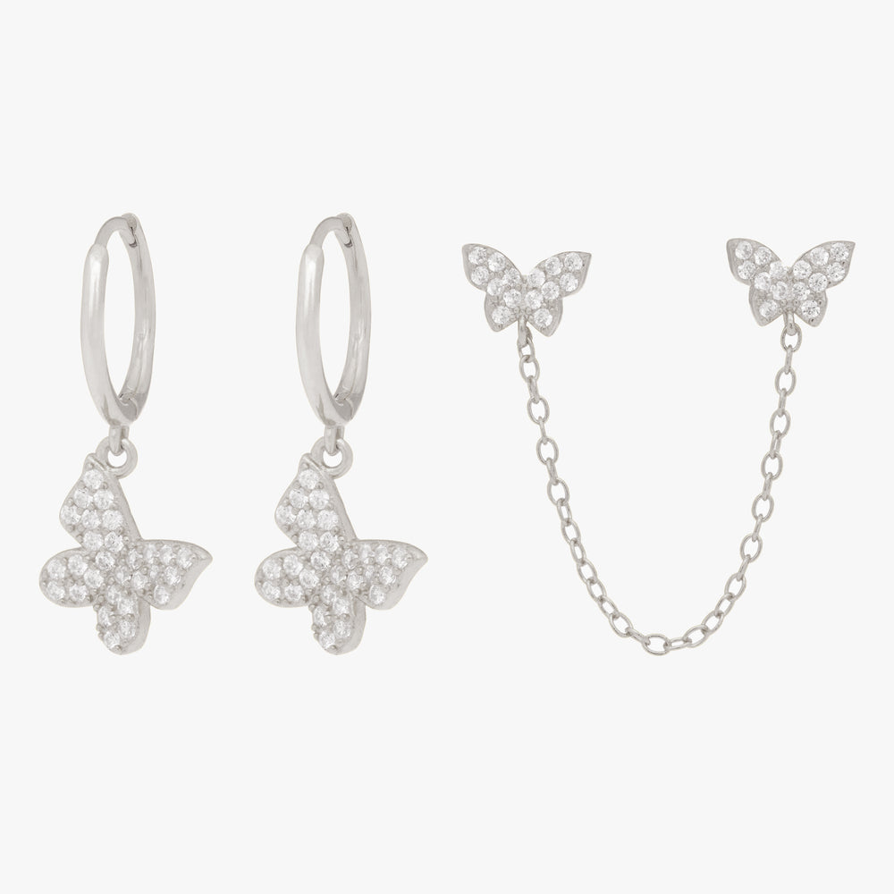 Silver Pavé butterfly drop hoops and attached chained pavé butterfly studs. [pair] color:silver