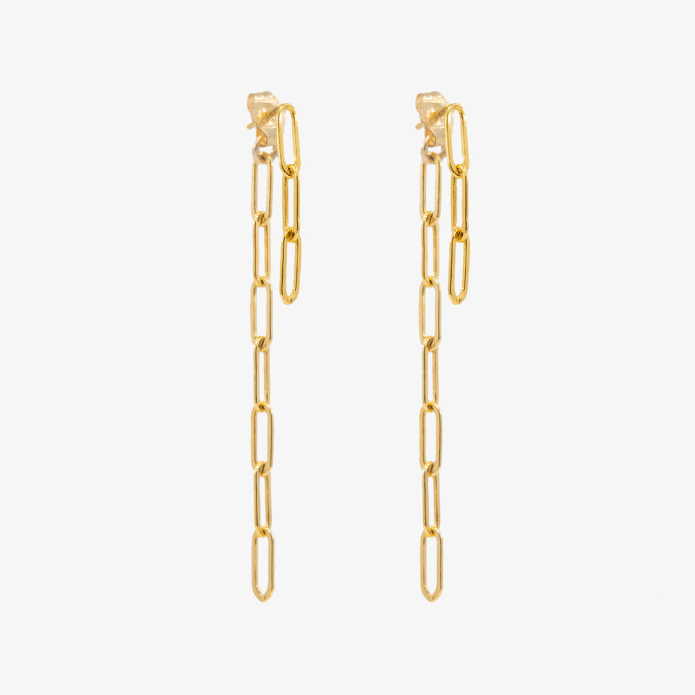 The chain jacket earring in gold is a dangle earring that hangs off the ear. Pair: Gold
